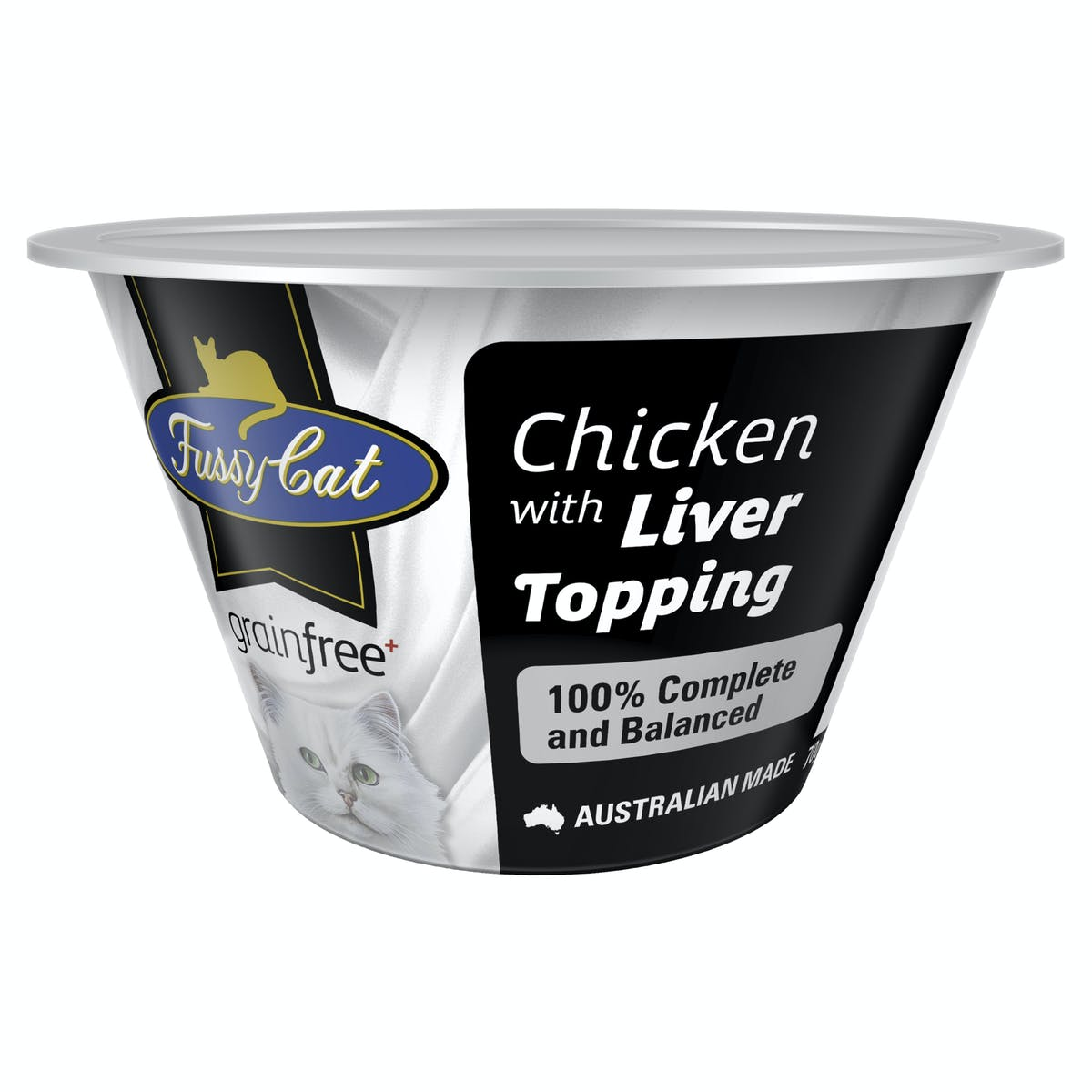 Fussy Cat | Chicken with Liver Topping 70g | Chilled cat food | Front of pack