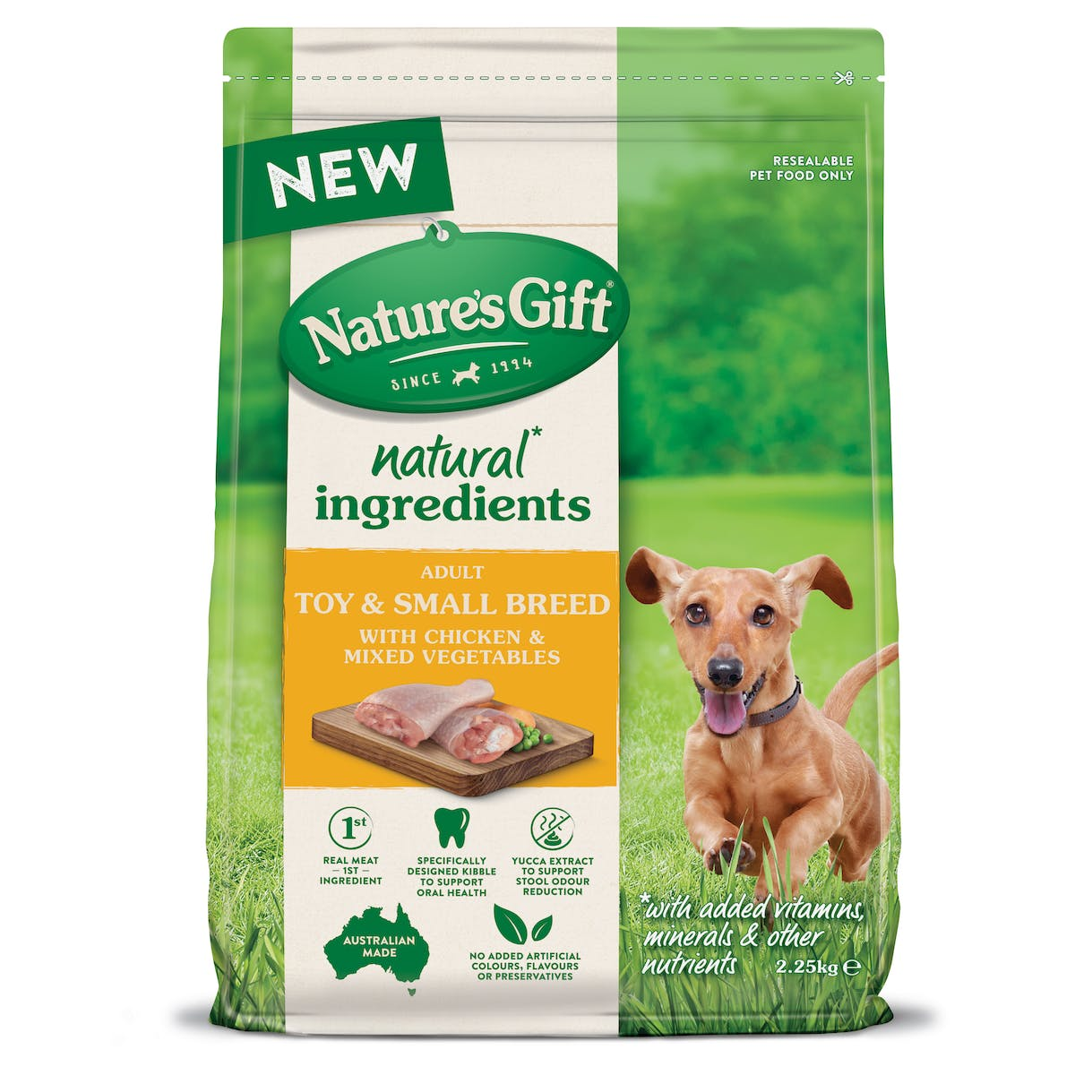 Nature's Gift | Toy & Small Breed with Chicken & Mixed Vegetables | Dry dog food | Front of pack