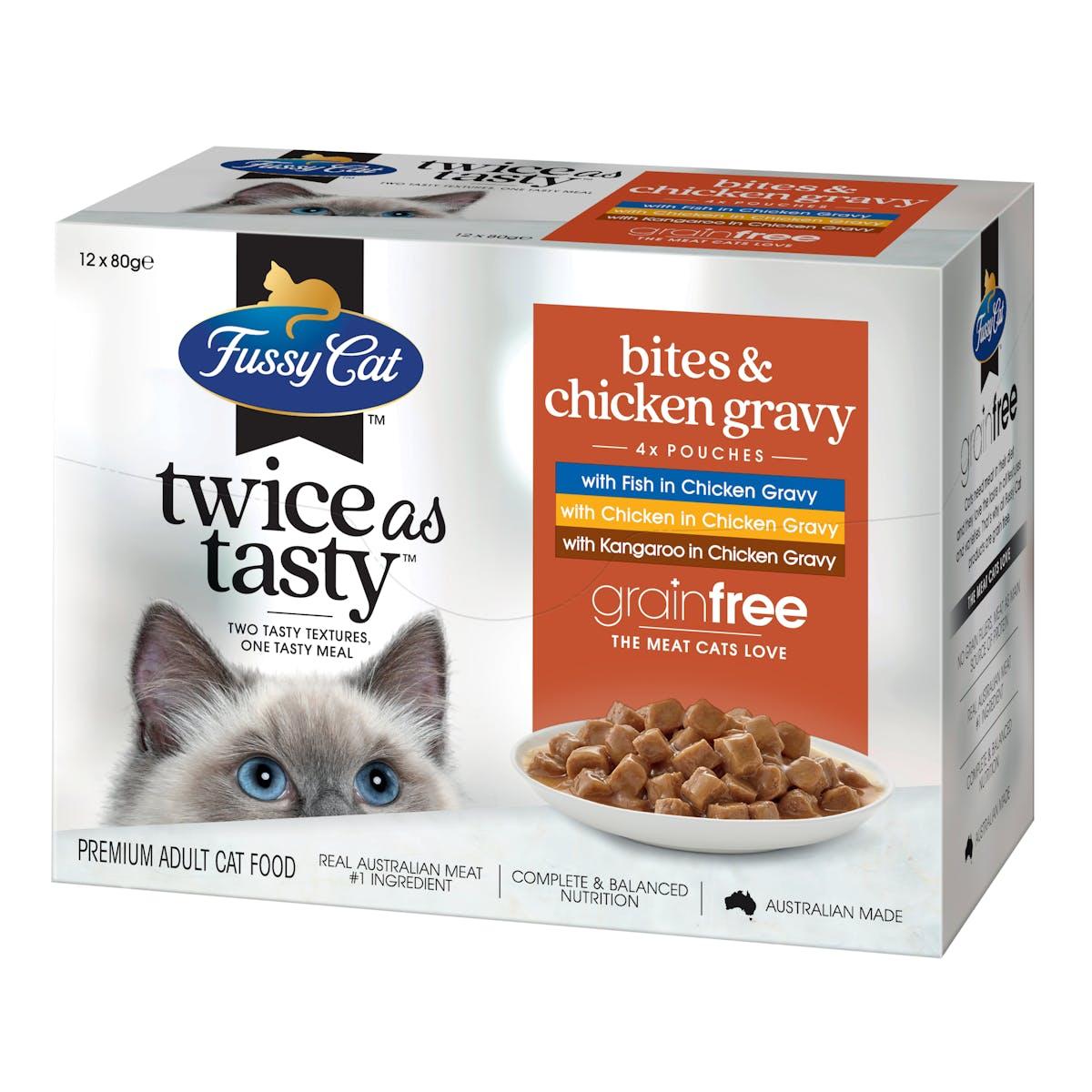 Fussy Cat | Bites & Chicken Gravy | Wet Cat Food | Left of pack