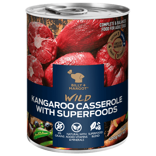 Billy + Margot® | Kangaroo Casserole With Superfoods | Wet dog food | Front of pack