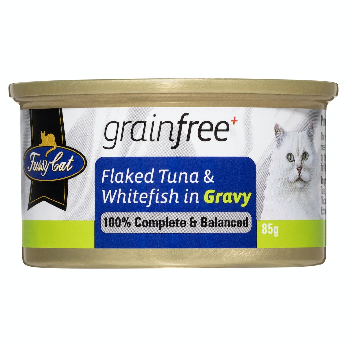 Fussy Cat   Flaked Tuna & Whitefish in Gravy 85g   Wet Cat Food   Front of pack