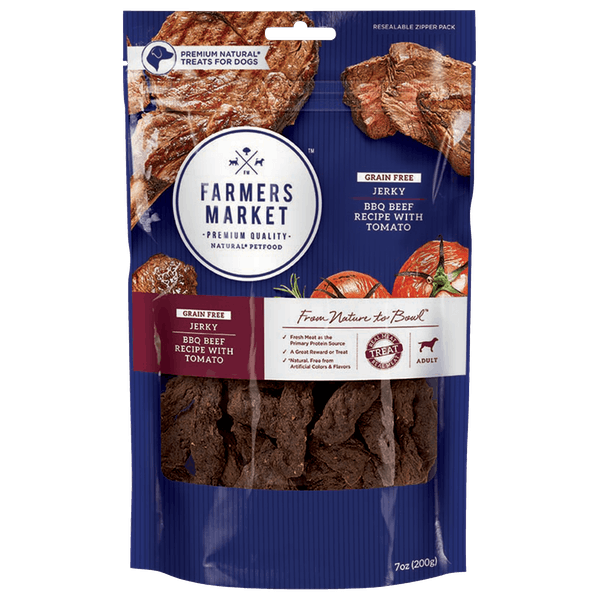 Farmers Market | BBQ Beef with Tomato | Dog treats | Front of pack