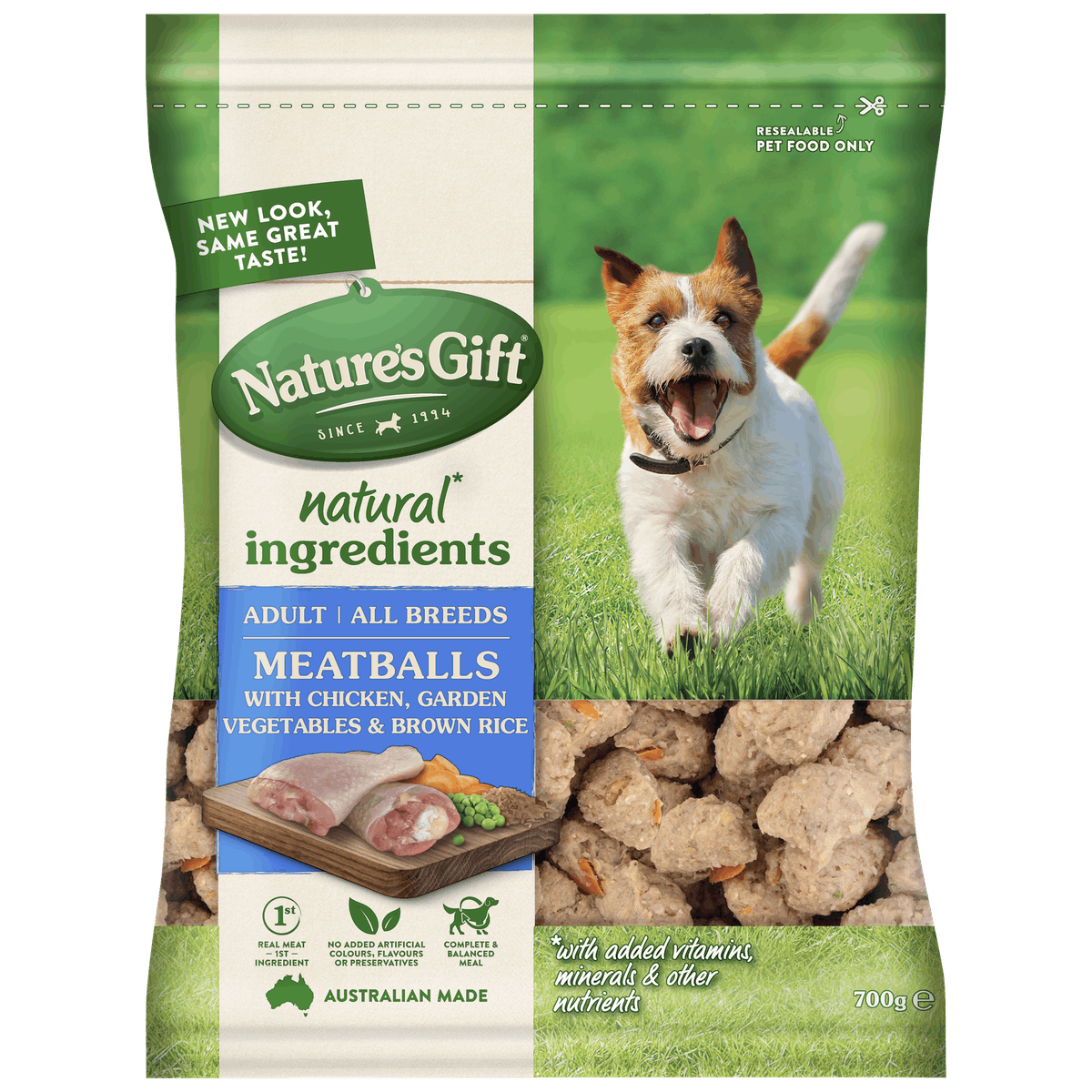 Nature's Gift | Meatballs with Chicken, Brown Rice & Garden Vegetables | Chilled dog food | Front of pack