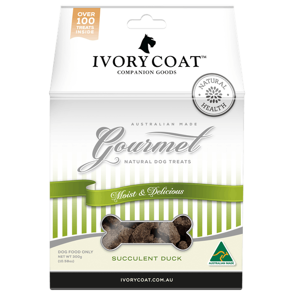 Ivory Coat | Succulent Duck | Dog treats | Front of pack