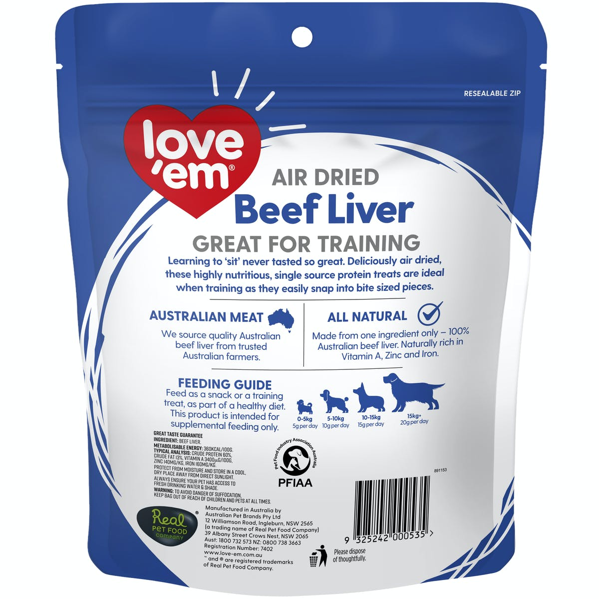 Love'em | Air Dried Beef Liver | Train dog | Front of pack