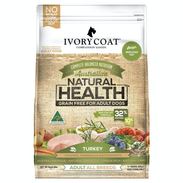 Ivory Coat | Reduced Fat/Senior Turkey | Grain-free dry dog food | Front of pack