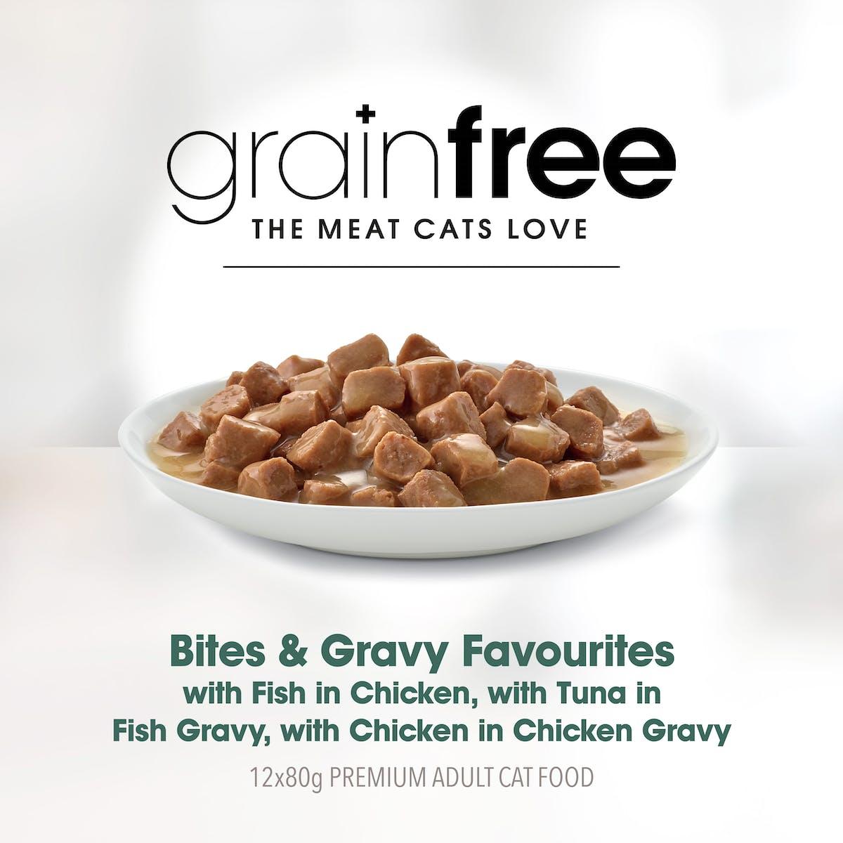 Fussy Cat | Bites & Gravy Favourites | Wet Cat Food | Right of pack