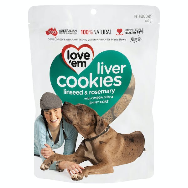 Love'em | liver cookies linseed & rosemary | Indulge dog | Front of pack