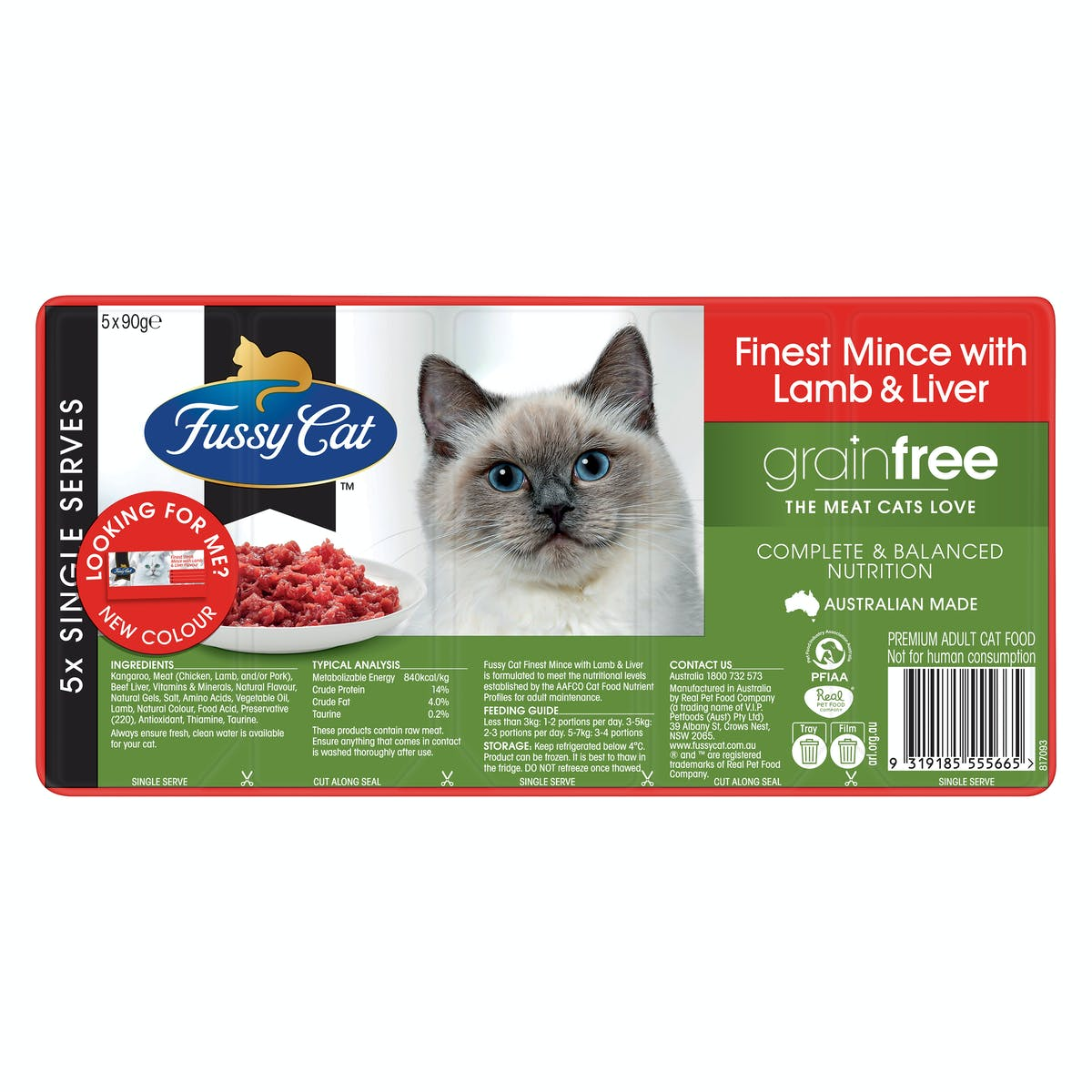 Fussy Cat | Finest Steak Mince with Lamb & Liver Flavour 5 x 90g | Chilled cat food | Front of pack