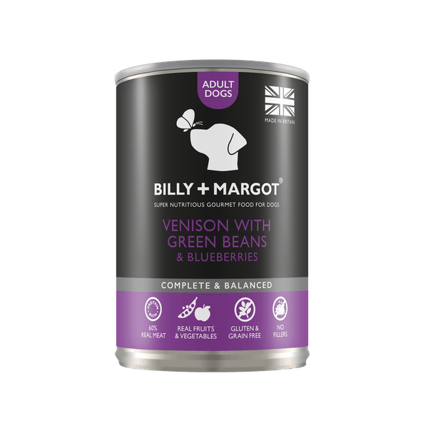 Billy + Margot® | Venison with Green Beans & Blueberries | Wet dog food | Front of pack