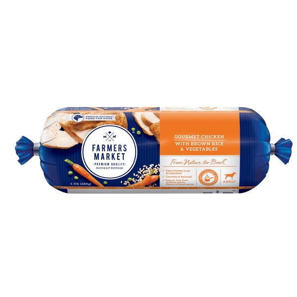 Farmers Market | Chicken, Brown rice and Vegetables | Chilled dog food | Front of pack