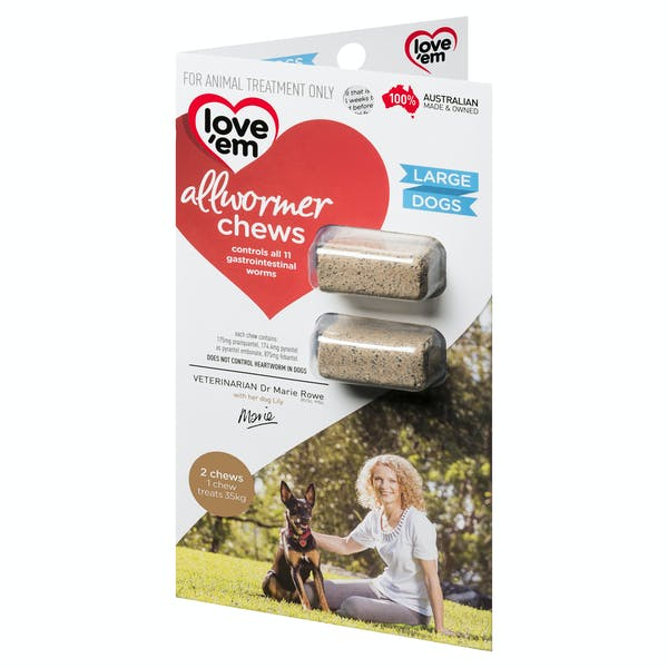 Love'em | all-wormer chews (large) | Health dog | Front of pack