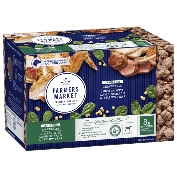 Farmers Market | Grain-Free Lamb, Spinach & Yellow Peas | Chilled dog food | Front of pack