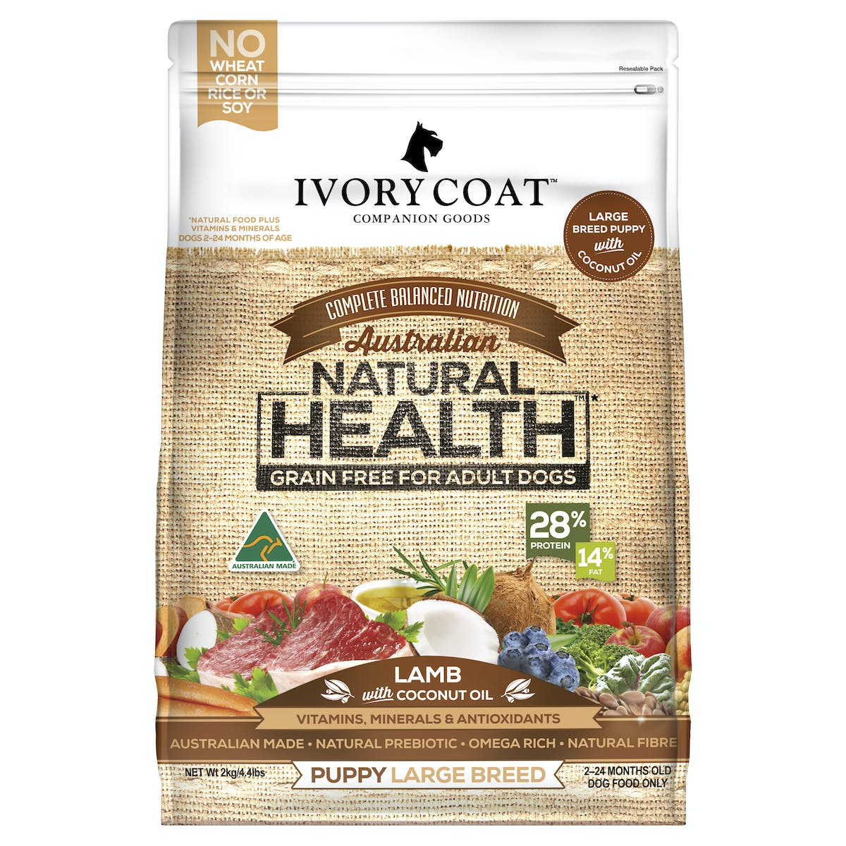 Ivory Coat | Large Breed Lamb | Grain-free dry dog food | Front of pack