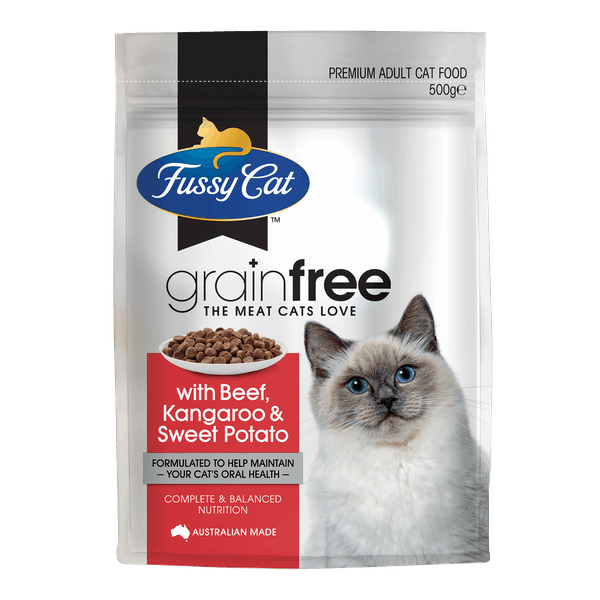 Fussy Cat | Beef and Kangaroo with Sweet Potato | Dry cat food | Front of pack