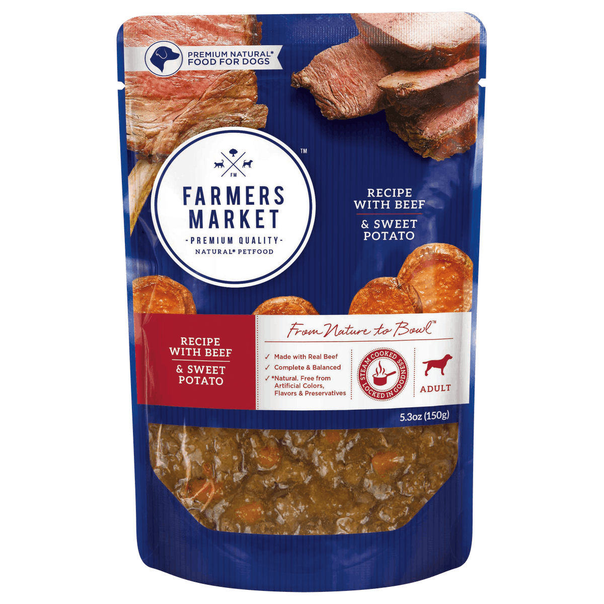 Farmers Market | Beef and and Sweet Potato | Wet dog food | Front of pack