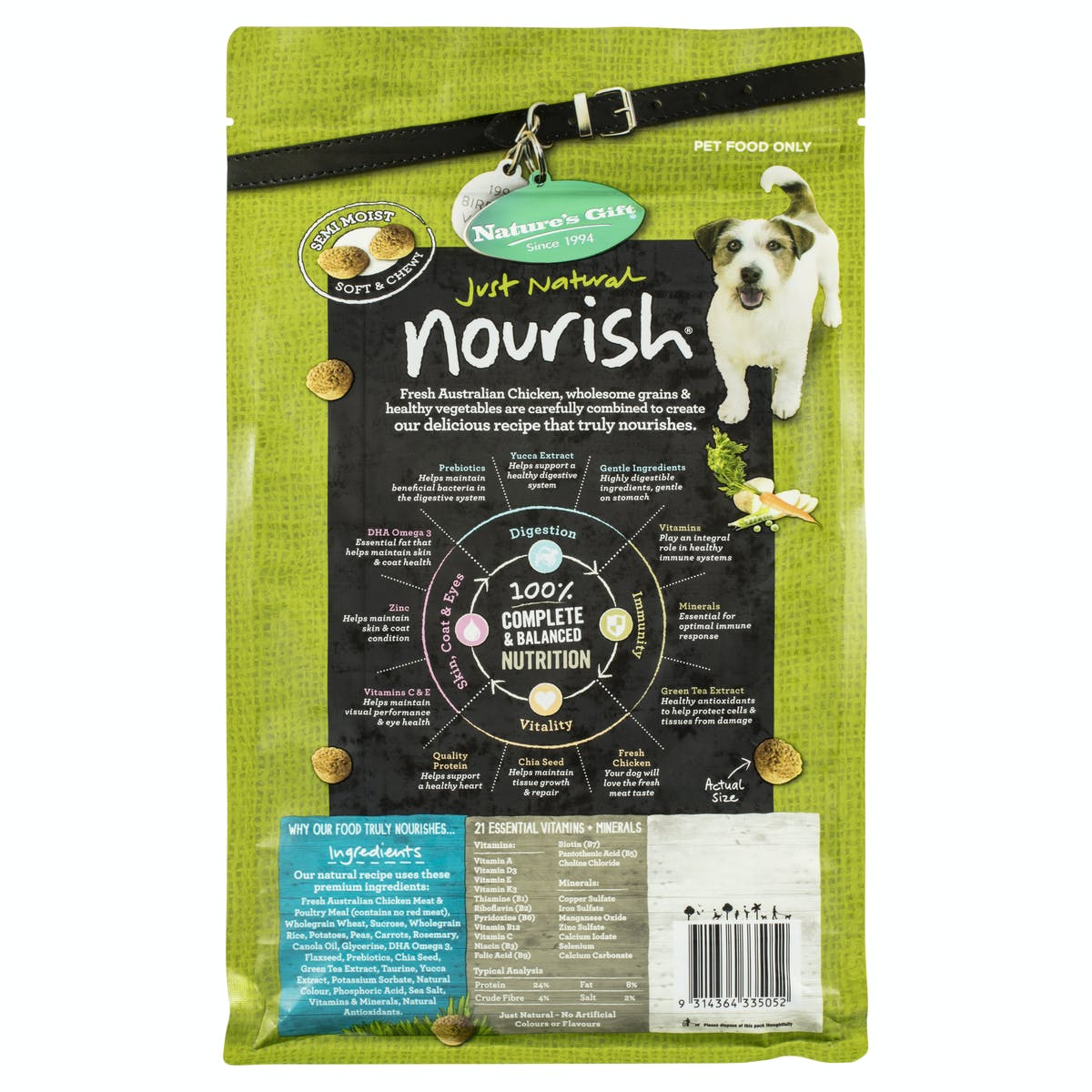 Nature's Gift | Chicken & Mixed Vegetables | Dry dog food | Back of pack