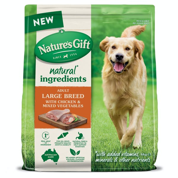 Nature's Gift | Large Breed with Chicken & Mixed Vegetables | Dry dog food | Front of pack