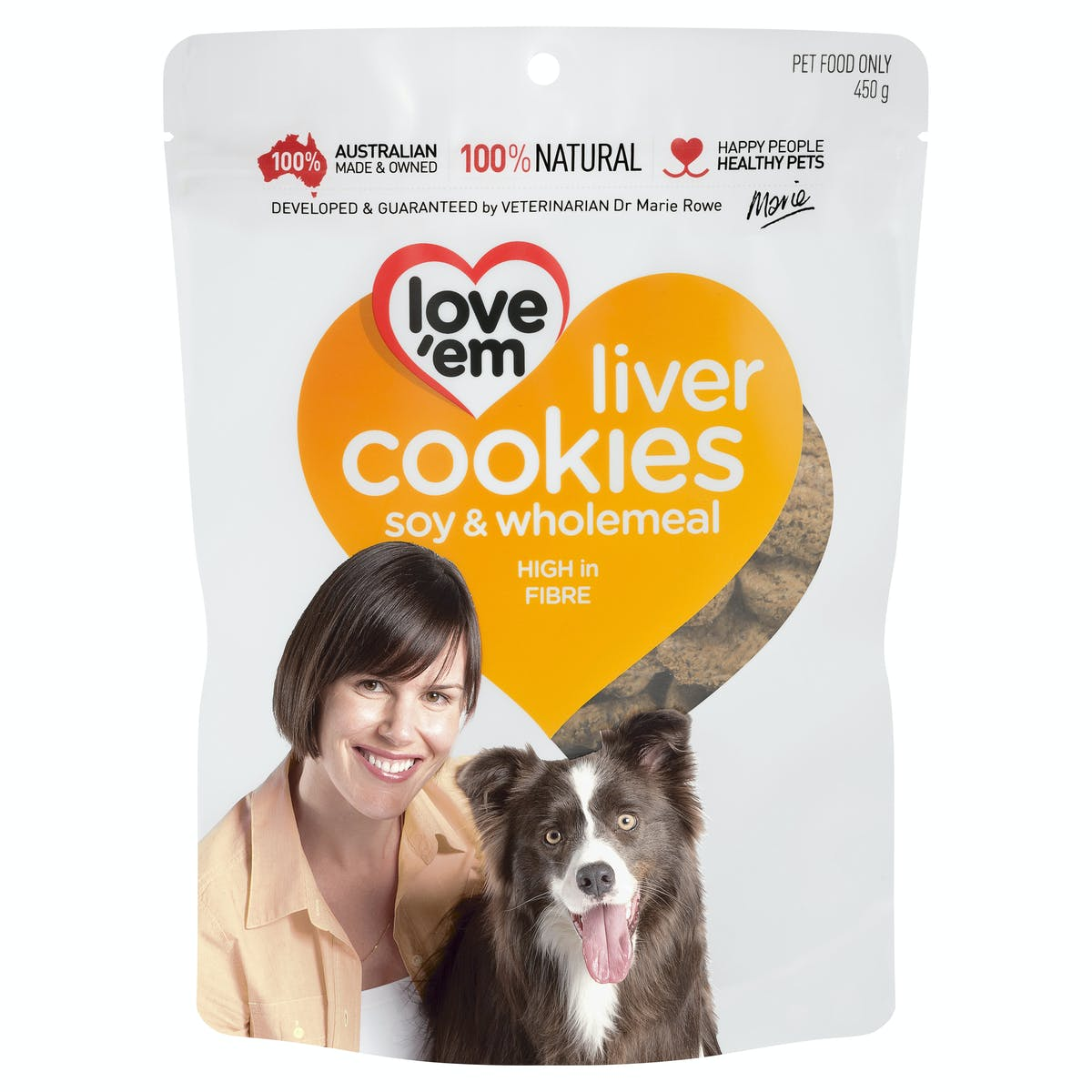 Love'em   liver cookies soy & wholemeal   Indulge dog   Front of pack