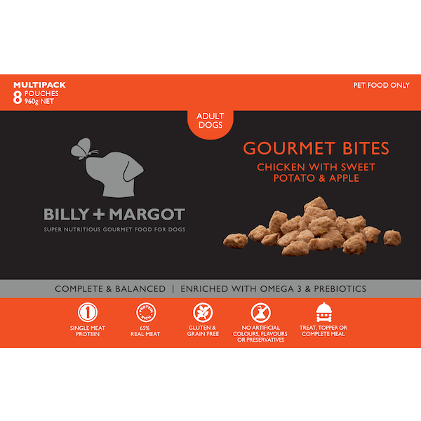 Billy + Margot® | Chicken with Sweet Potato & Apple | Frozen dog food | Front of pack