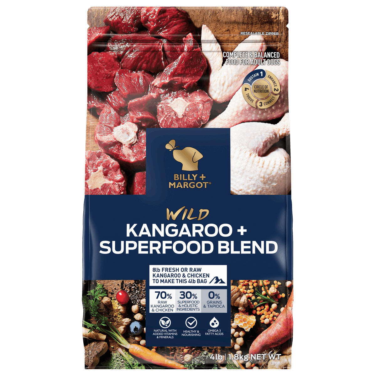 Billy + Margot® | Kangaroo + Superfood Blend | Dry dog food | Front of pack