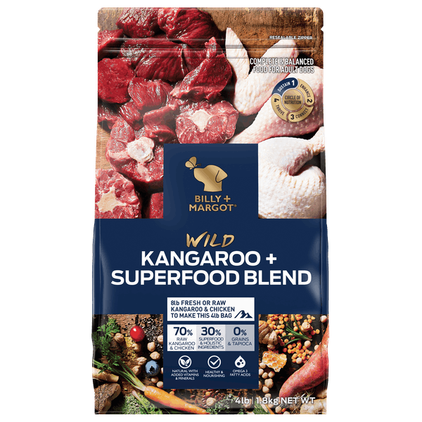 Billy + Margot® | Kangaroo + Superfood Blend | Dry dog food | Front of pack