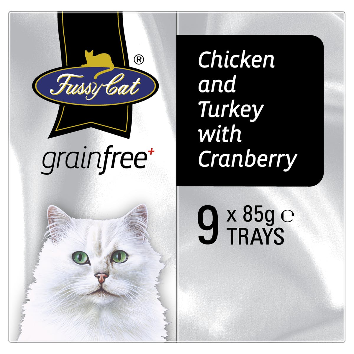 Fussy Cat | Chicken and Turkey with Cranberry 9 x 85g | Wet Cat Food | Left of pack