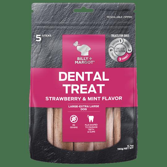 Billy + Margot® | Strawberry & Mint Tea Flavor (Large - XLarge Dog) | Dog treats | Front of pack