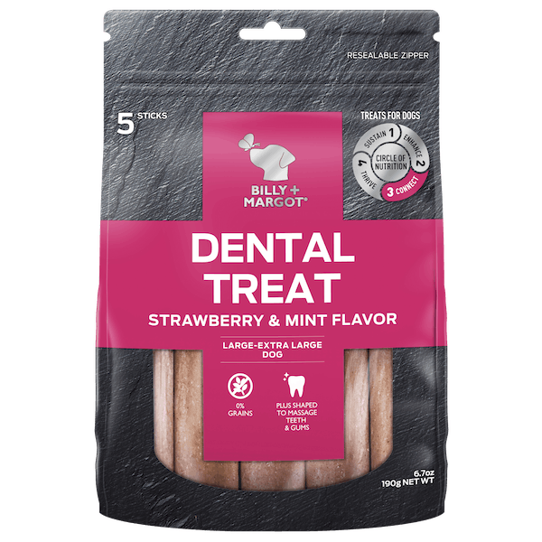 Billy + Margot® | Strawberry & Mint Tea Flavor (Large - XLarge Dog) | Dog treats | Front of pack