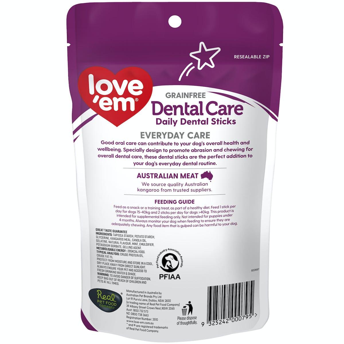 Love'em | Dental Care Daily Dental Sticks Medium - Large | Dog treats | Front of pack