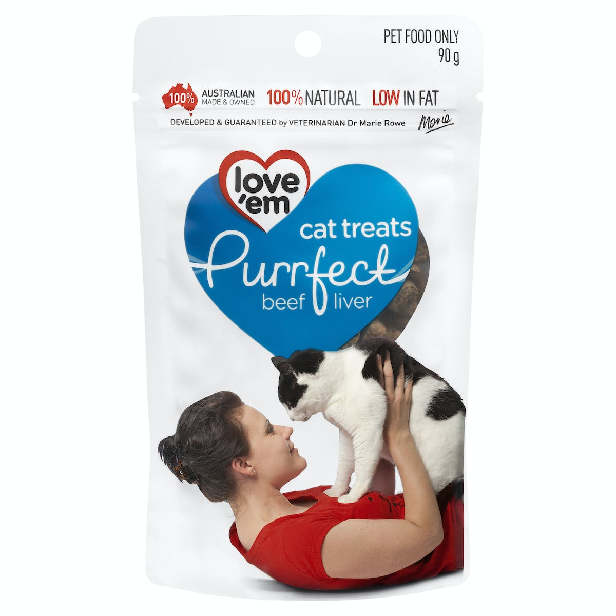 Love'em | cat treats purrfect beef liver | Indulge cat | Front of pack