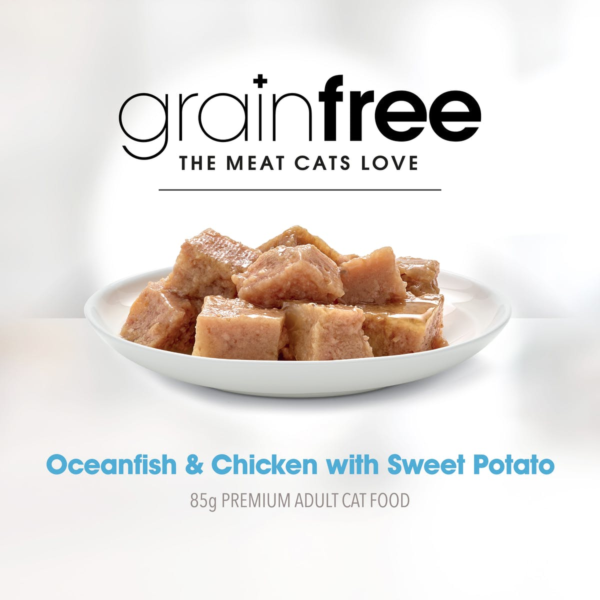 Fussy Cat | Oceanfish and Chicken with Sweet Potato 85g | Wet Cat Food | Right of pack