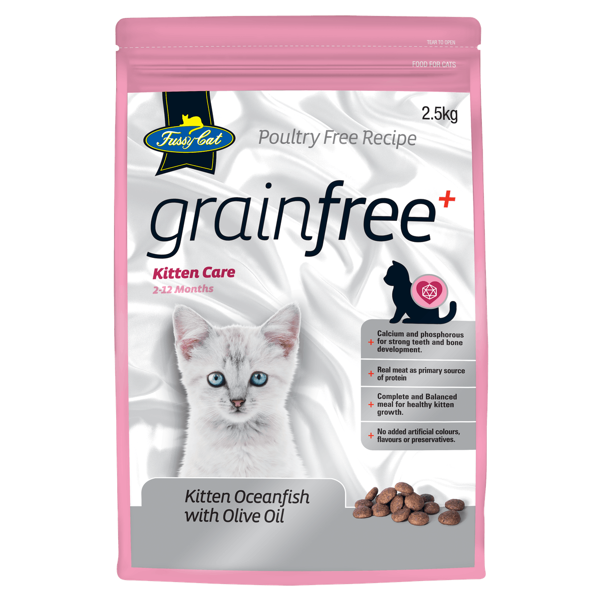 Fussy Cat | Kitten Oceanfish with Olive Oil | Dry cat food | Front of pack
