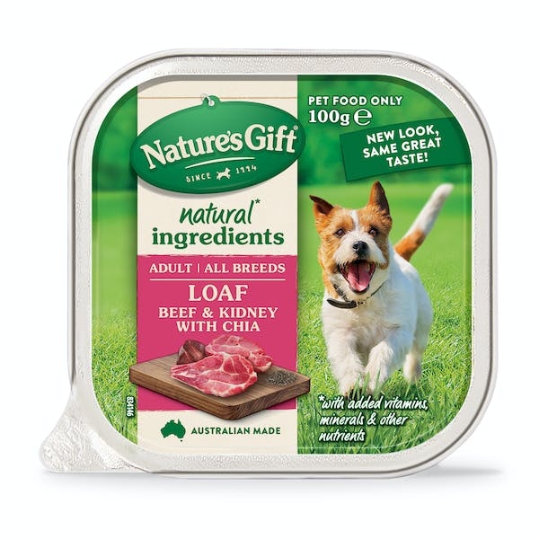 Nature's Gift | Beef & Kidney with Chia | Wet dog food | Front of pack