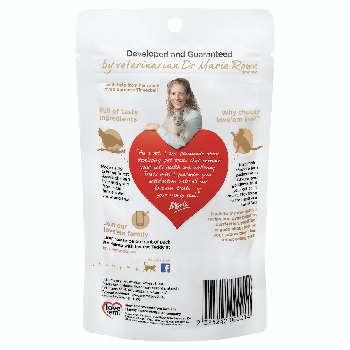 Love'em | cat treats purrfect chicken liver | Indulge cat | Front of pack
