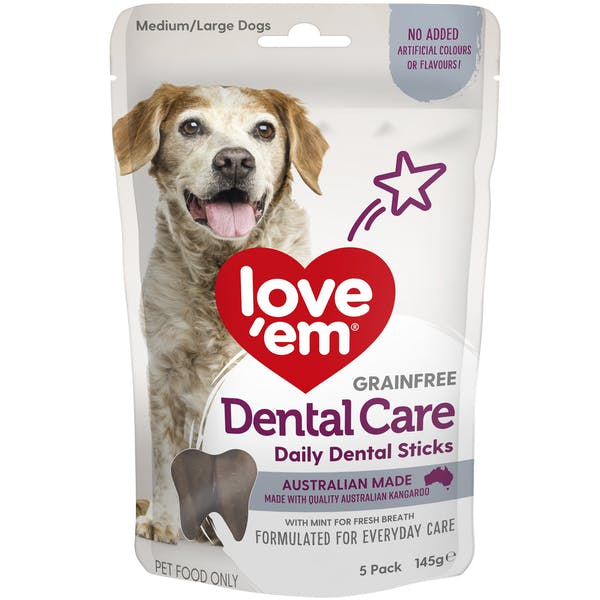 Love'em | Dental Care Daily Dental Sticks Medium - Large | Dog treats | Front of pack
