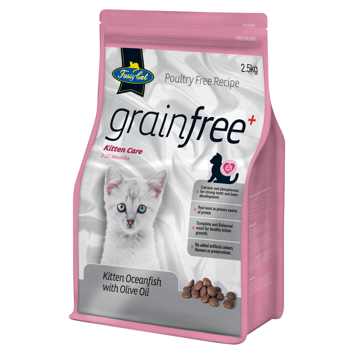 Fussy Cat | Kitten Oceanfish with Olive Oil | Dry cat food | Right of pack