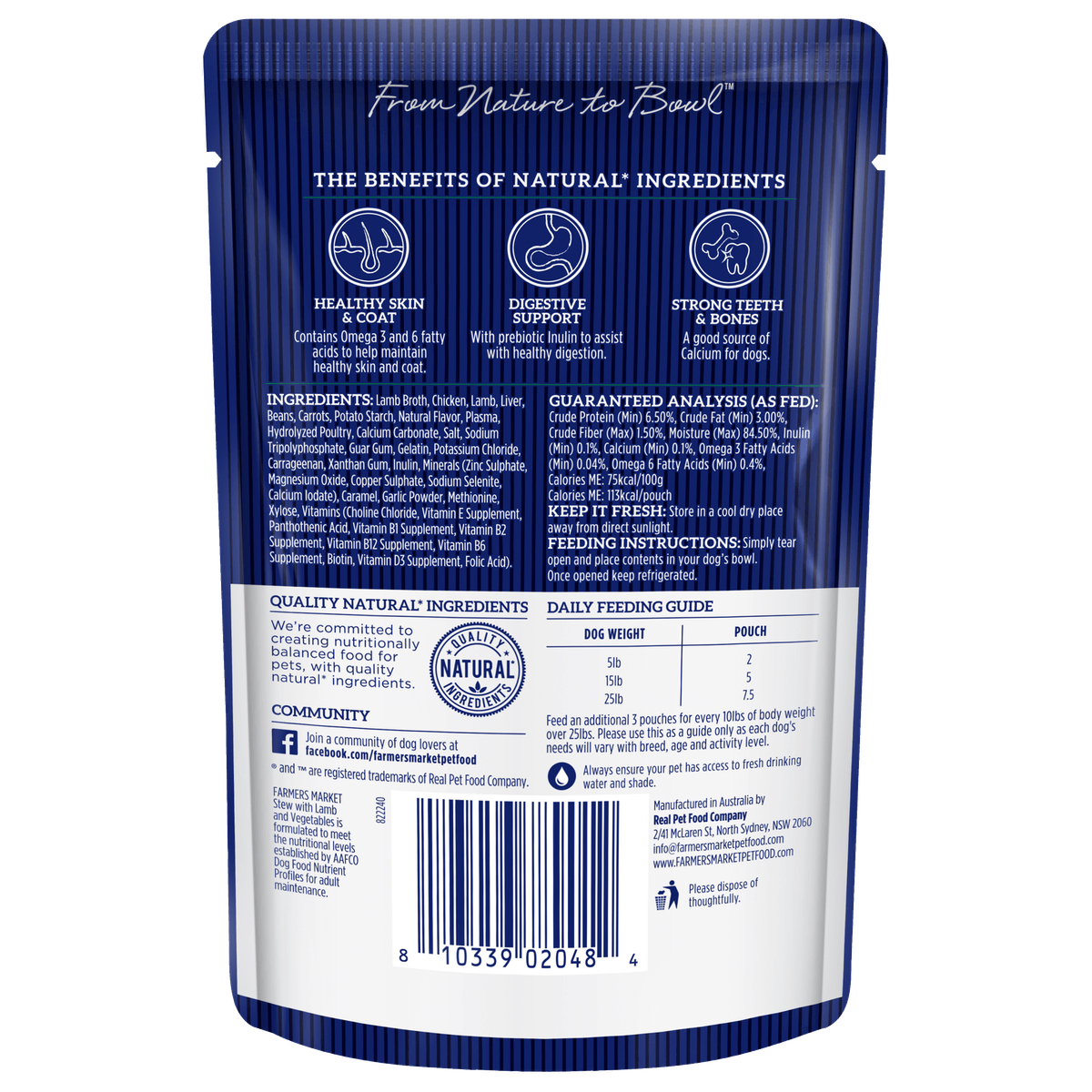 Farmers Market | Grain-Free Lamb Stew and Vegetables | Wet dog food | Front of pack
