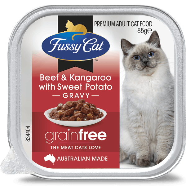 Fussy Cat | Beef and Kangaroo with Sweet Potato 85g | Wet Cat Food | Front of pack