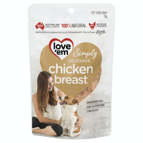 Love'em | chicken breast | Indulge dog | Front of pack