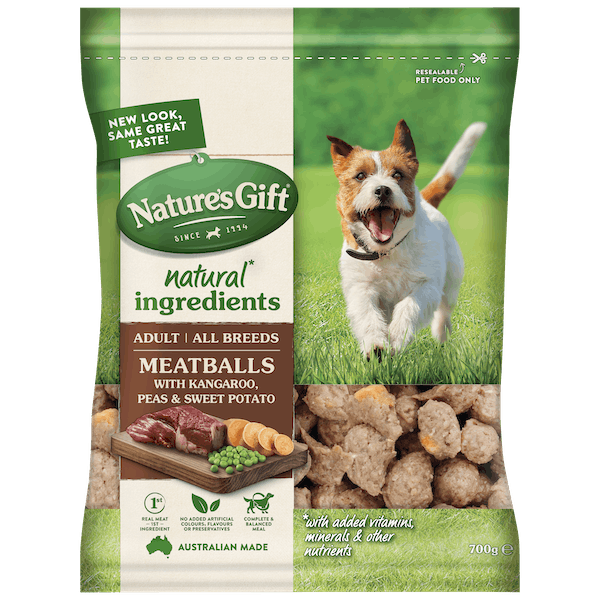Nature's Gift | Meatballs with Kangaroo, Sweet Potato & Peas | Chilled dog food | Front of pack
