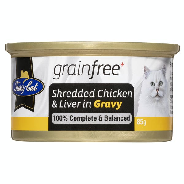 Fussy Cat | Shredded Chicken & Liver in Gravy 85g | Wet Cat Food | Front of pack