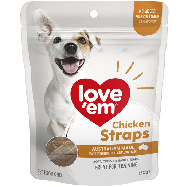Love'em | Chicken Straps | Train dog | Front of pack