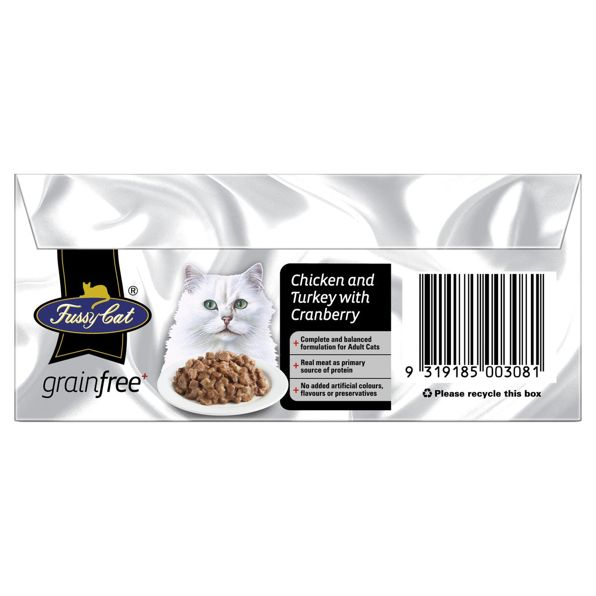 Fussy Cat | Chicken and Turkey with Cranberry 9 x 85g | Wet Cat Food | Top of pack
