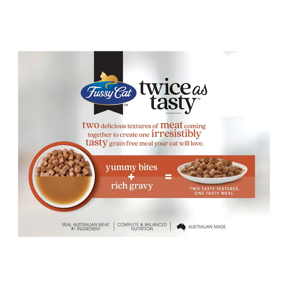 Fussy Cat | Bites & Chicken Gravy | Wet Cat Food | Back of pack