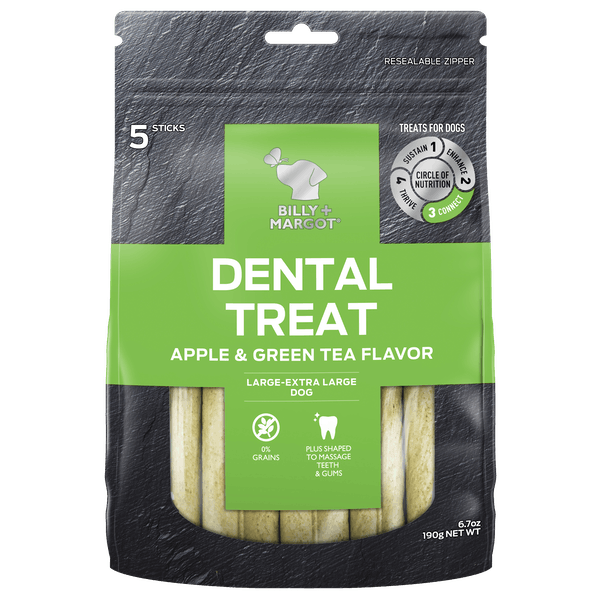 Billy + Margot® | Apple & Green Tea Flavor (Large - XLarge Dog) | Dog treats | Front of pack