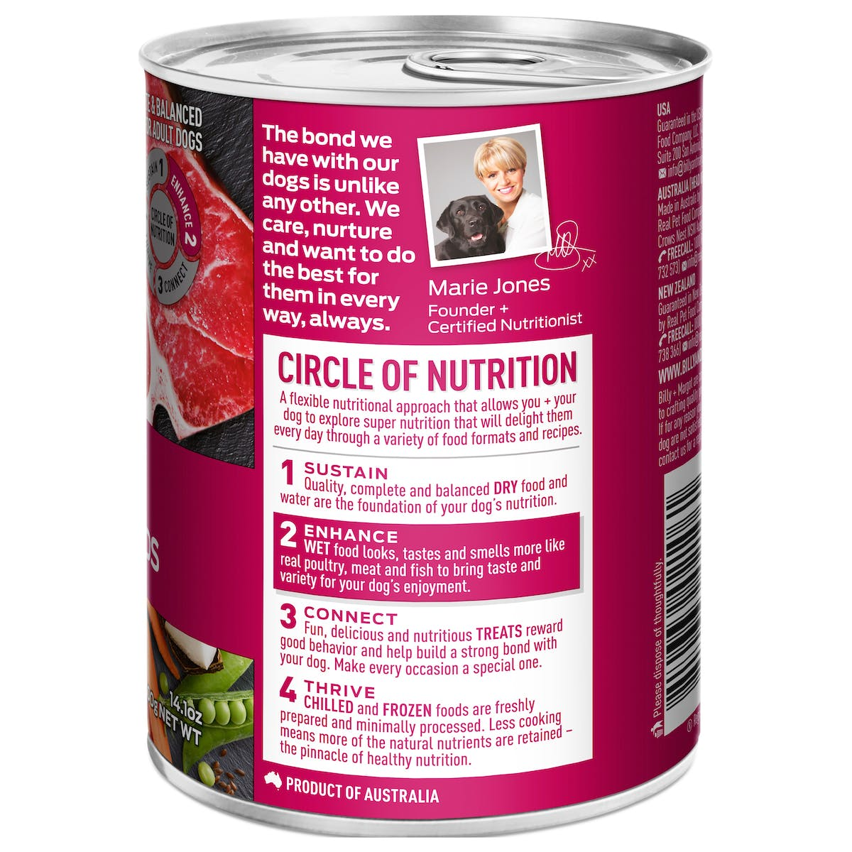 Billy + Margot®   Beef Casserole With Superfoods   Wet Dog Food   Back of pack