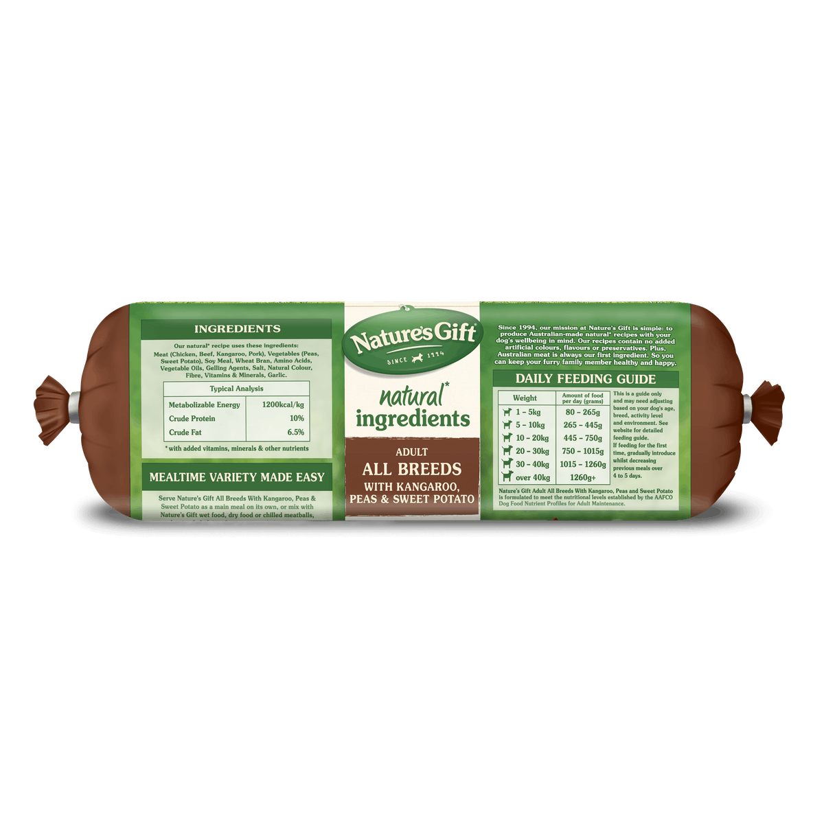 Nature's Gift | Kangaroo, Sweet Potato & Peas | Chilled dog food | Front of pack