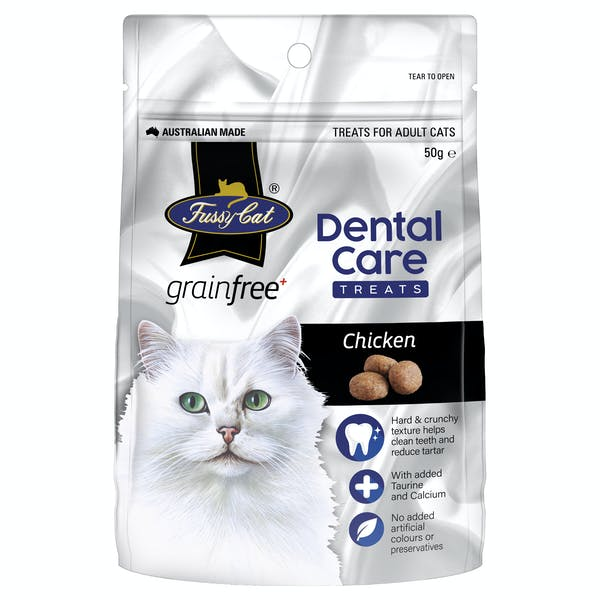 Fussy Cat | Chicken Dental Care 50g | Cat treats | Front of pack