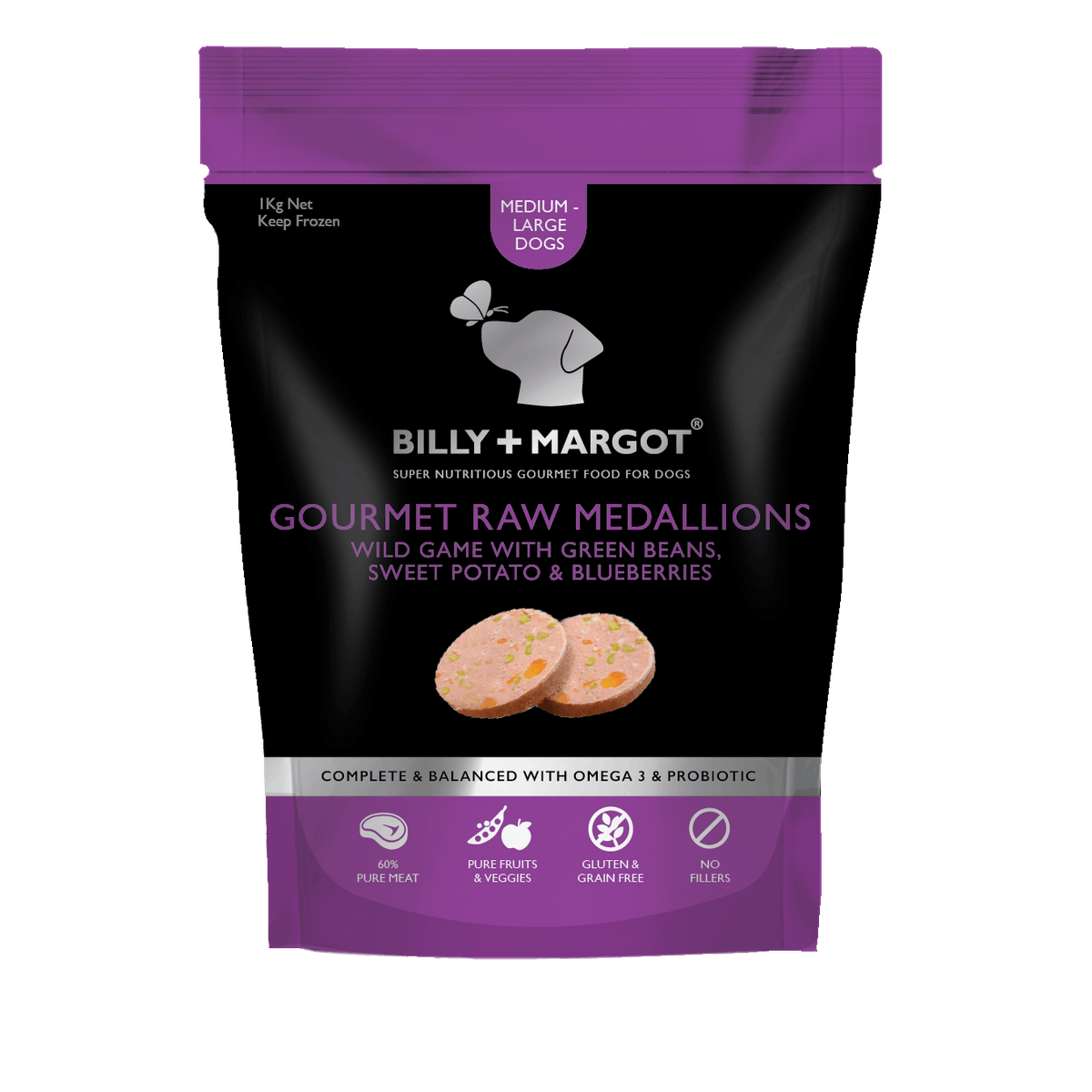 Billy + Margot® | Wild game with Green Beans, Sweet Potato & Blueberries | Frozen dog food | Front of pack